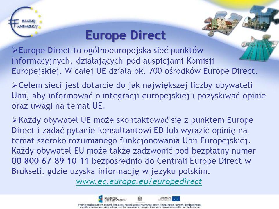 Europe Direct Poznań 061 65 80 740 Punkt Europe Direct Poznań poza bieżącym informowaniem społeczności regionalnej o Unii Europejskiej prowadzi wiele własnych przedsięwzięć.