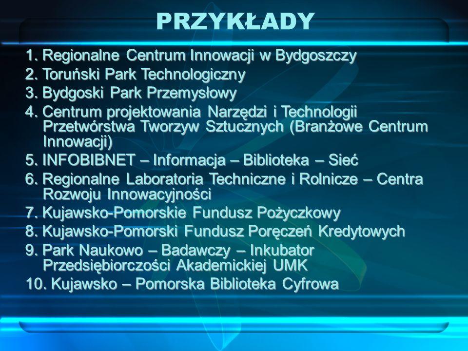 1. Regionalne Centrum Innowacji w Bydgoszczy 2. Toruński Park Technologiczny 3.