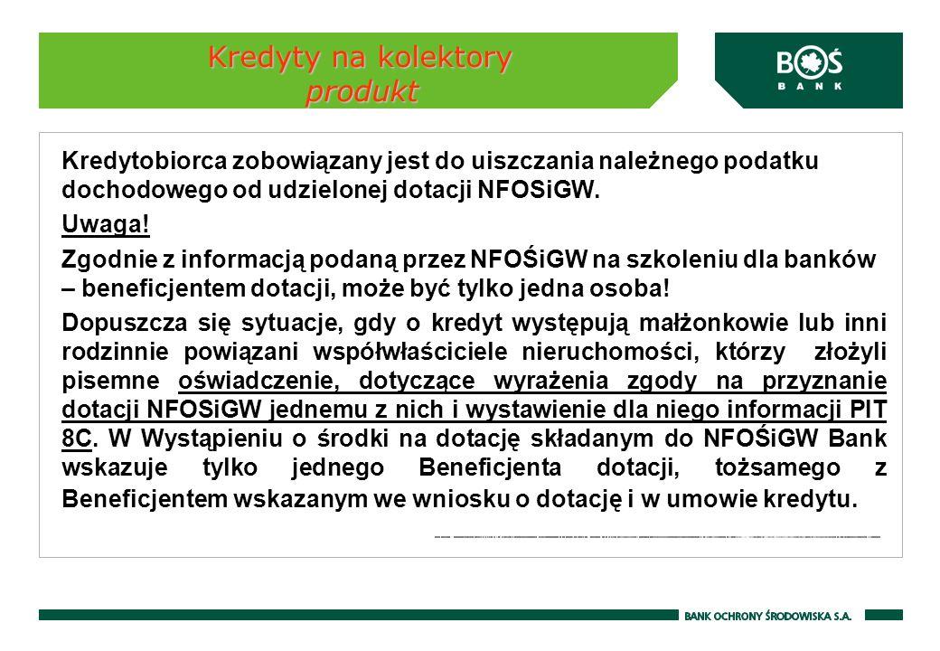 Kredyty na kolektory produkt Kredytobiorca zobowiązany jest do uiszczania należnego podatku dochodowego od udzielonej dotacji NFOSiGW. Uwaga! Zgodnie