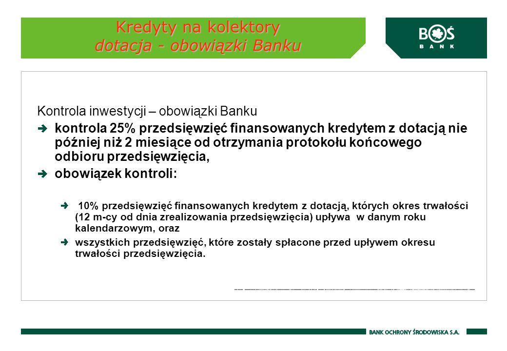Kredyty na kolektory dotacja - obowiązki Banku Kontrola inwestycji – obowiązki Banku kontrola 25% przedsięwzięć finansowanych kredytem z dotacją nie p
