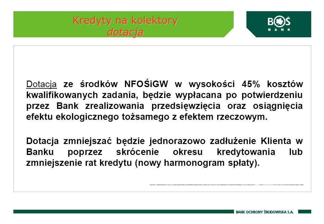 Kredyty na kolektory dotacja Dotacja ze środków NFOŚiGW w wysokości 45% kosztów kwalifikowanych zadania, będzie wypłacana po potwierdzeniu przez Bank