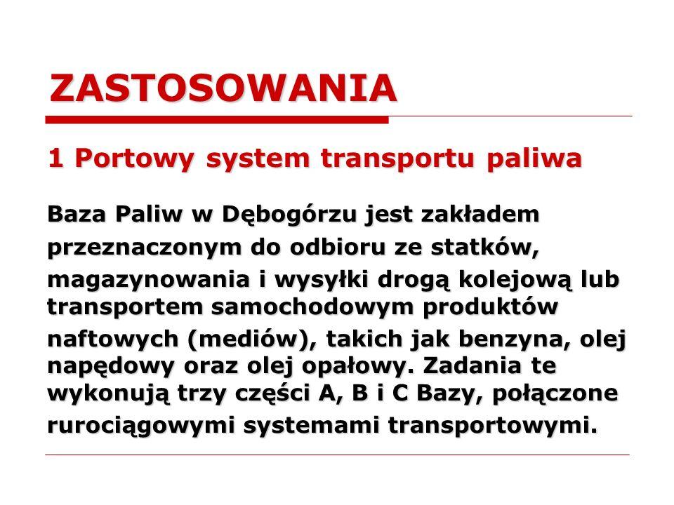 ZASTOSOWANIA 1 Portowy system transportu paliwa Baza Paliw w Dębogórzu jest zakładem przeznaczonym do odbioru ze statków, magazynowania i wysyłki drog