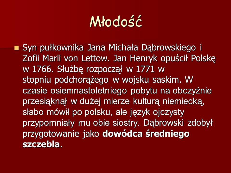 Młodość Syn pułkownika Jana Michała Dąbrowskiego i Zofii Marii von Lettow. Jan Henryk opuścił Polskę w 1766. Służbę rozpoczął w 1771 w stopniu podchor