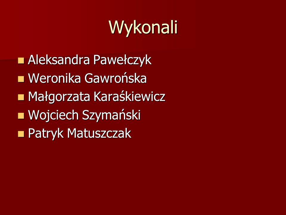Wykonali Aleksandra Pawełczyk Aleksandra Pawełczyk Weronika Gawrońska Weronika Gawrońska Małgorzata Karaśkiewicz Małgorzata Karaśkiewicz Wojciech Szym