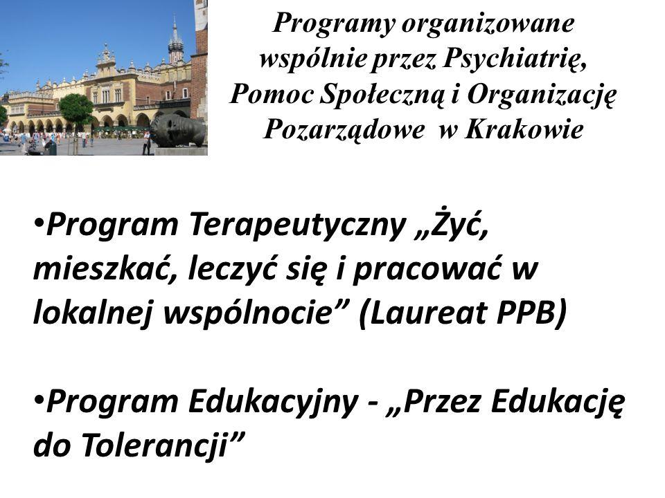 Program Terapeutyczny Żyć, mieszkać, leczyć się i pracować w lokalnej wspólnocie (Laureat PPB) Program Edukacyjny - Przez Edukację do Tolerancji Progr