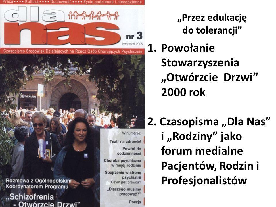 Przez edukację do tolerancji 1.Powołanie Stowarzyszenia Otwórzcie Drzwi 2000 rok 2. Czasopisma Dla Nas i Rodziny jako forum medialne Pacjentów, Rodzin