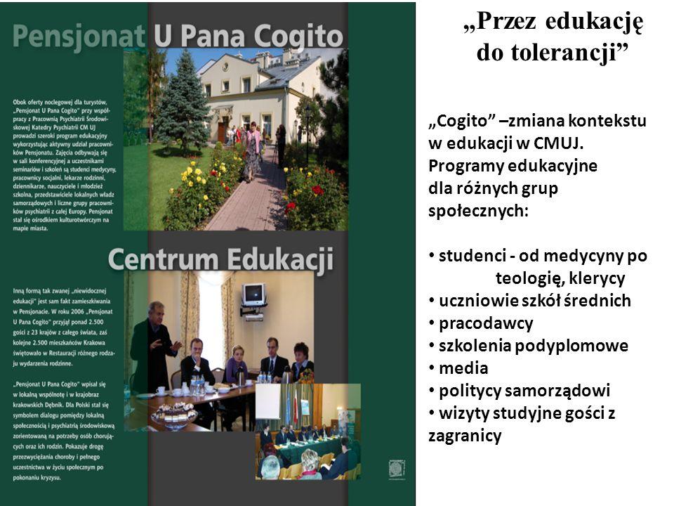 Przez edukację do tolerancji Cogito –zmiana kontekstu w edukacji w CMUJ. Programy edukacyjne dla różnych grup społecznych: studenci - od medycyny po t