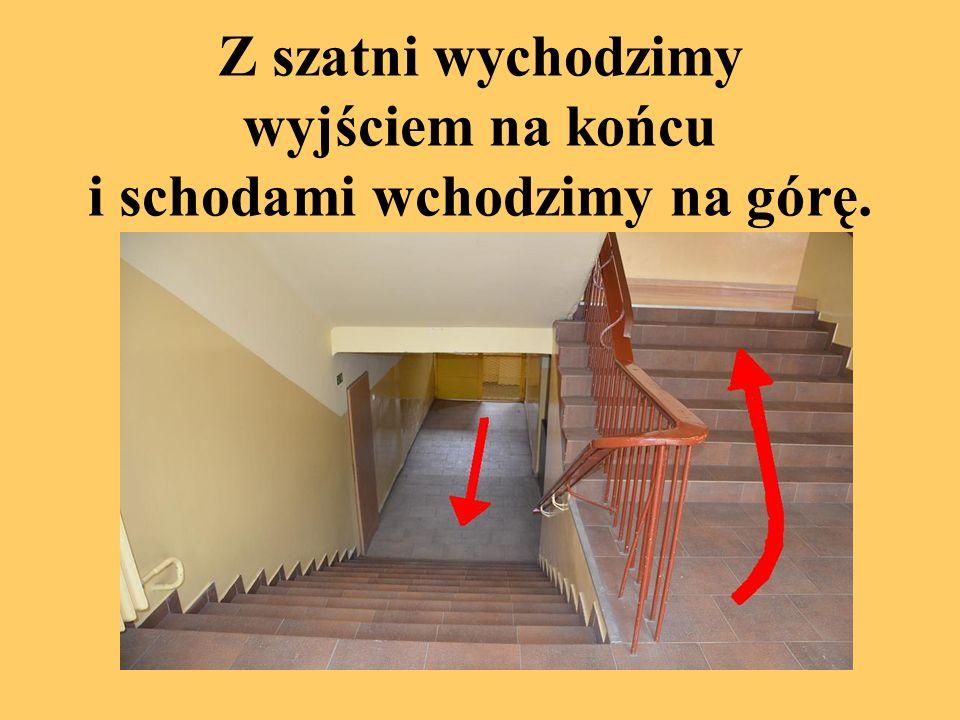 Idziemy schodami w górę.Uczniowie mający lekcje w salach 1, 2, 3 lub 4 zostają na parterze.