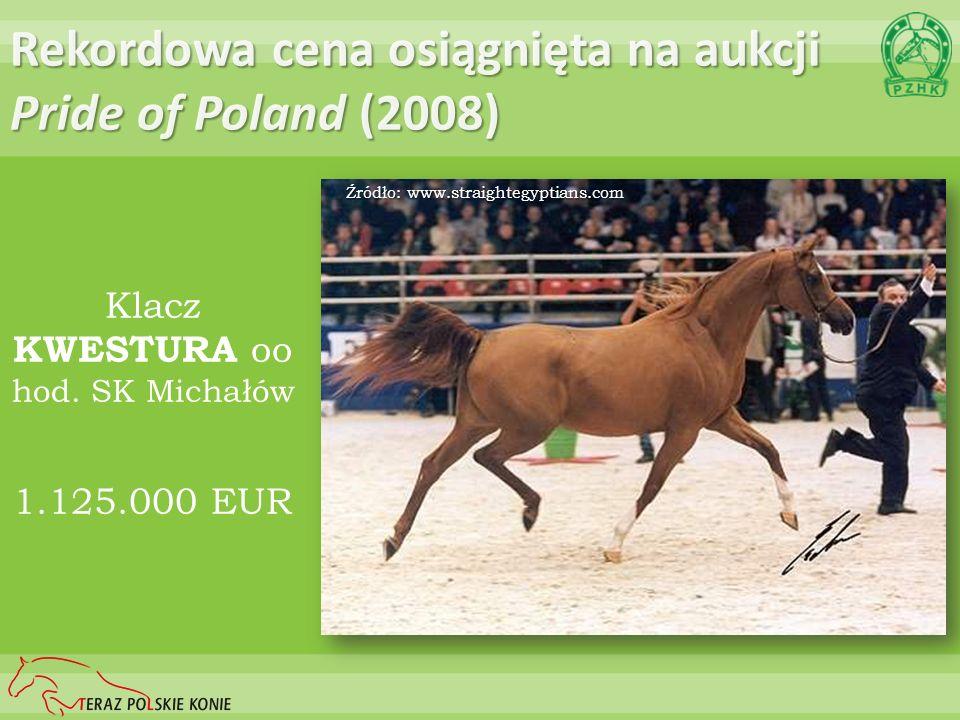 Rekordowa cena osiągnięta na aukcji Pride of Poland (2008) Klacz KWESTURA oo hod. SK Michałów 1.125.000 EUR Źródło: www.straightegyptians.com