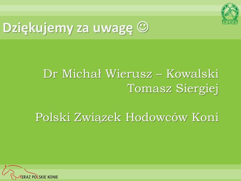 Dziękujemy za uwagę Dziękujemy za uwagę Dr Michał Wierusz – Kowalski Tomasz Siergiej Polski Związek Hodowców Koni