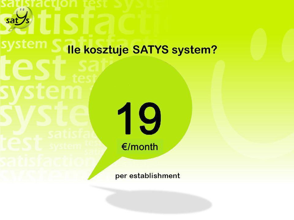 Ile kosztuje SATYS system? per establishment /month