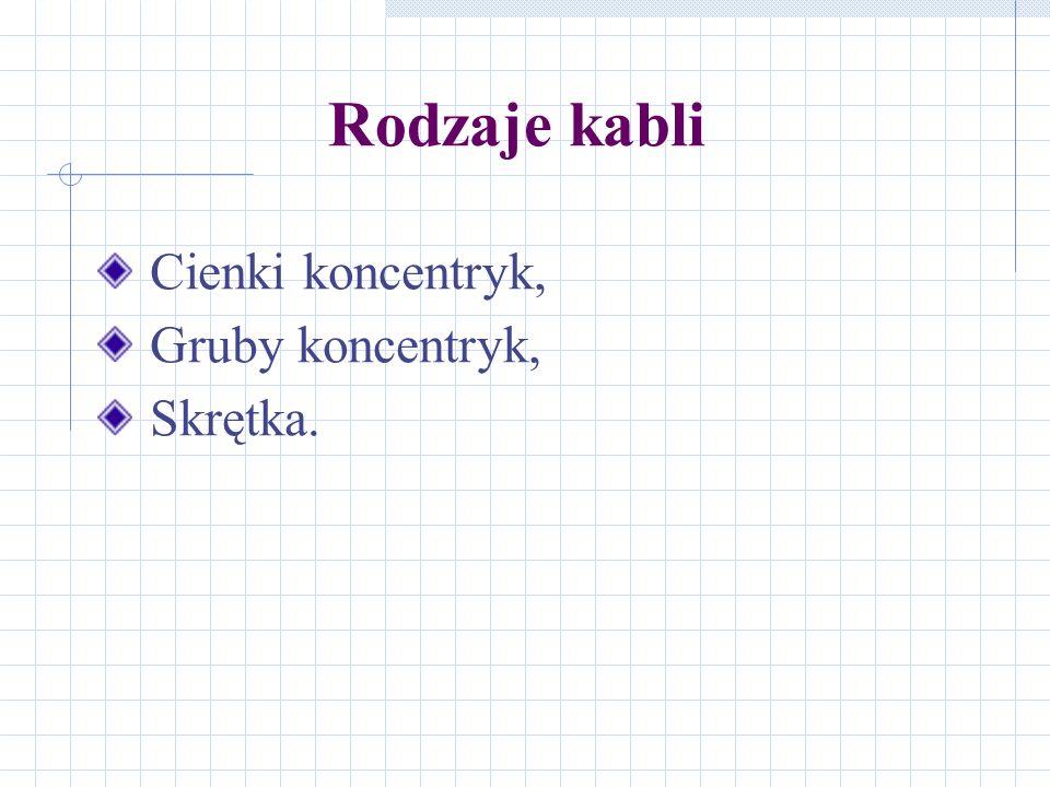 Rodzaje kabli Cienki koncentryk, Gruby koncentryk, Skrętka.