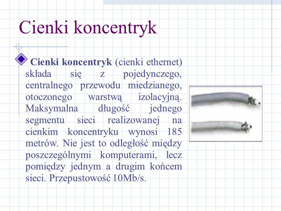 Cienki koncentryk Cienki koncentryk (cienki ethernet) składa się z pojedynczego, centralnego przewodu miedzianego, otoczonego warstwą izolacyjną. Maks