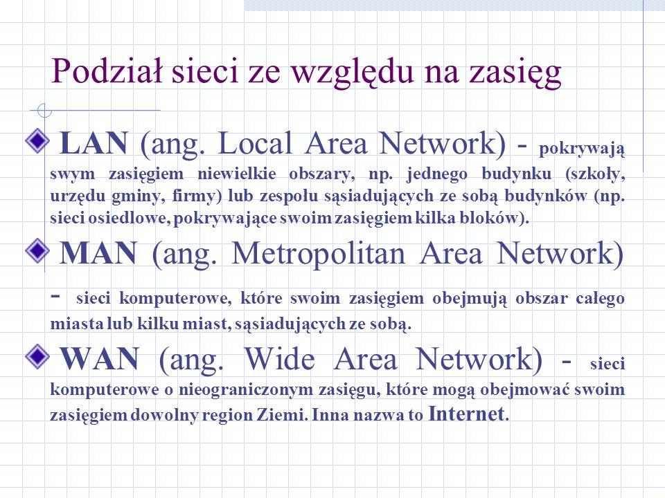 Podział sieci ze względu na zasięg LAN (ang. Local Area Network) - pokrywają swym zasięgiem niewielkie obszary, np. jednego budynku (szkoły, urzędu gm