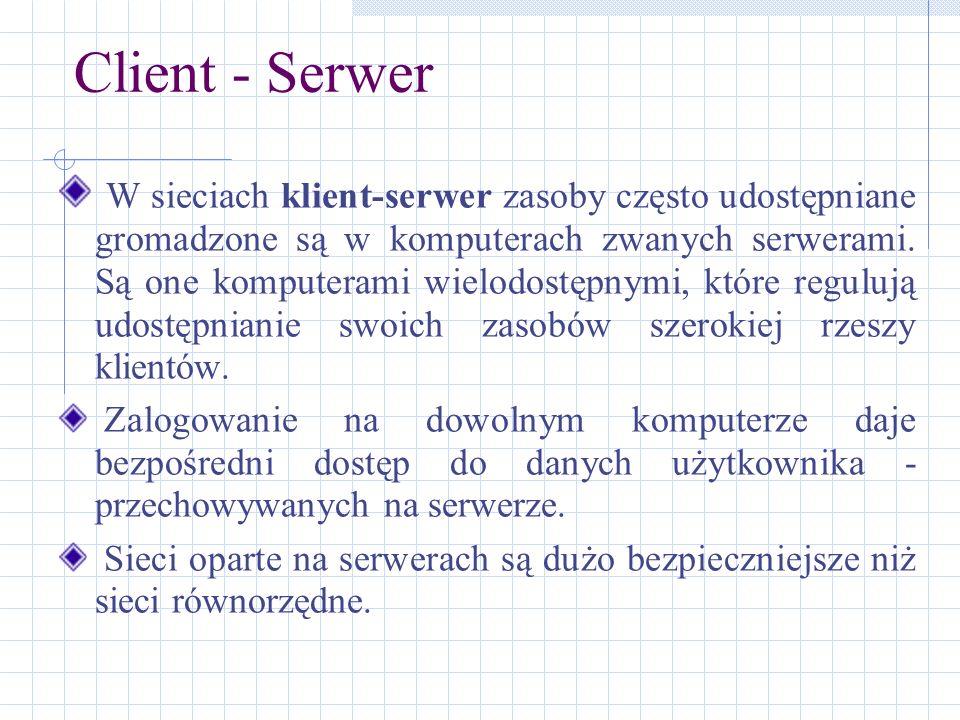 Client - Serwer W sieciach klient-serwer zasoby często udostępniane gromadzone są w komputerach zwanych serwerami. Są one komputerami wielodostępnymi,