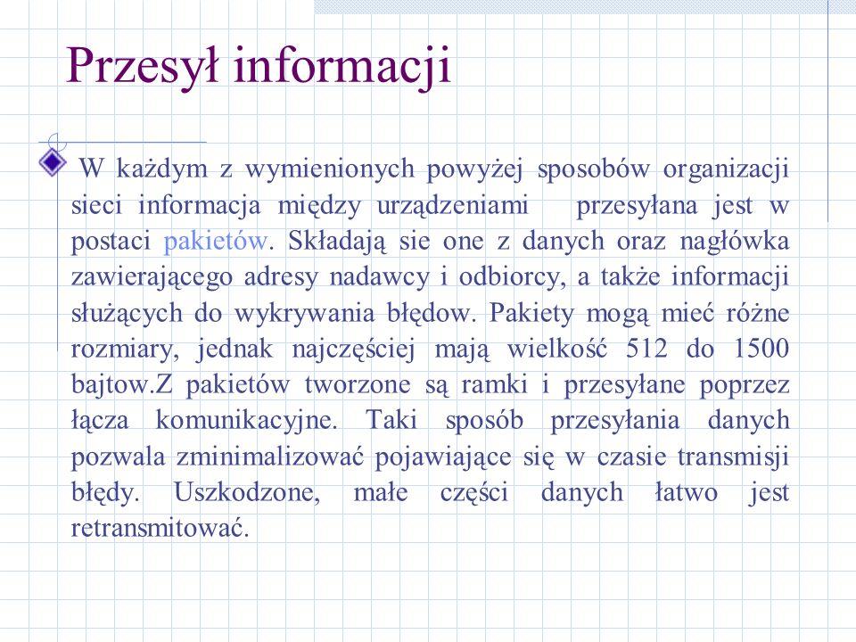 Przesył informacji W każdym z wymienionych powyżej sposobów organizacji sieci informacja między urządzeniami przesyłana jest w postaci pakietów. Skład