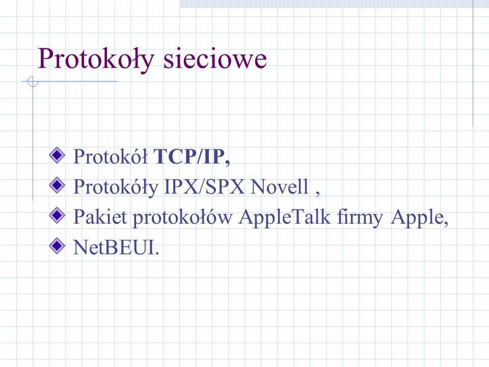 Protokoły sieciowe Protokół TCP/IP, Protokóły IPX/SPX Novell, Pakiet protokołów AppleTalk firmy Apple, NetBEUI.