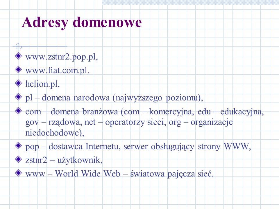 Adresy domenowe www.zstnr2.pop.pl, www.fiat.com.pl, helion.pl, pl – domena narodowa (najwyższego poziomu), com – domena branżowa (com – komercyjna, ed