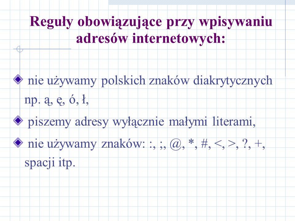 Reguły obowiązujące przy wpisywaniu adresów internetowych: nie używamy polskich znaków diakrytycznych np. ą, ę, ó, ł, piszemy adresy wyłącznie małymi