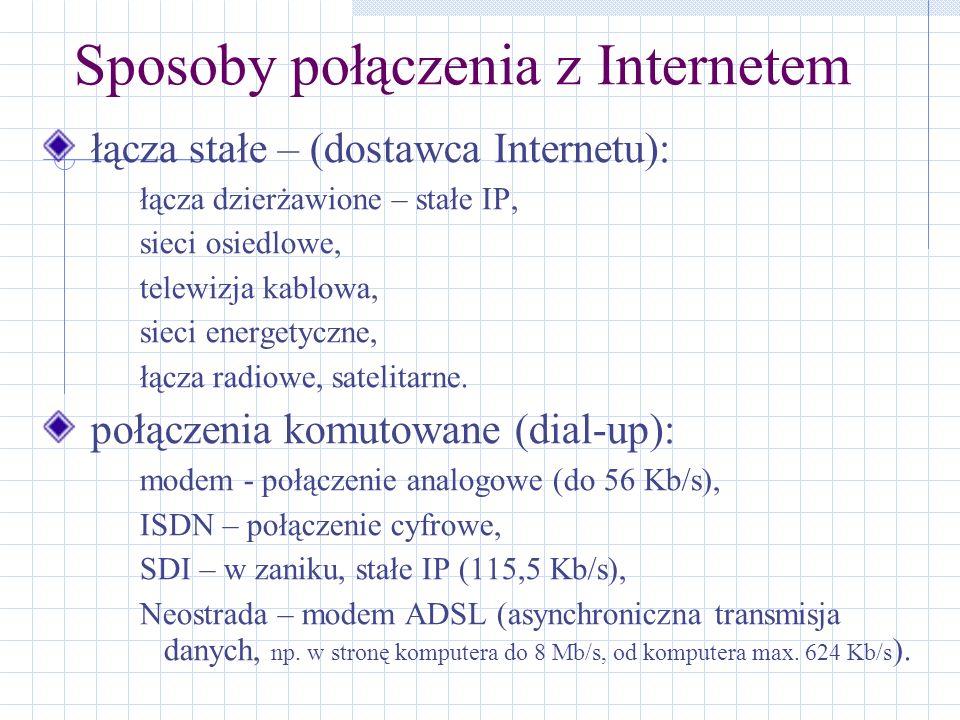 Sposoby połączenia z Internetem łącza stałe – (dostawca Internetu): łącza dzierżawione – stałe IP, sieci osiedlowe, telewizja kablowa, sieci energetyc
