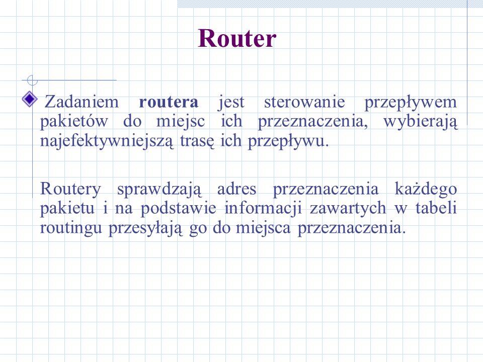 Router Zadaniem routera jest sterowanie przepływem pakietów do miejsc ich przeznaczenia, wybierają najefektywniejszą trasę ich przepływu. Routery spra