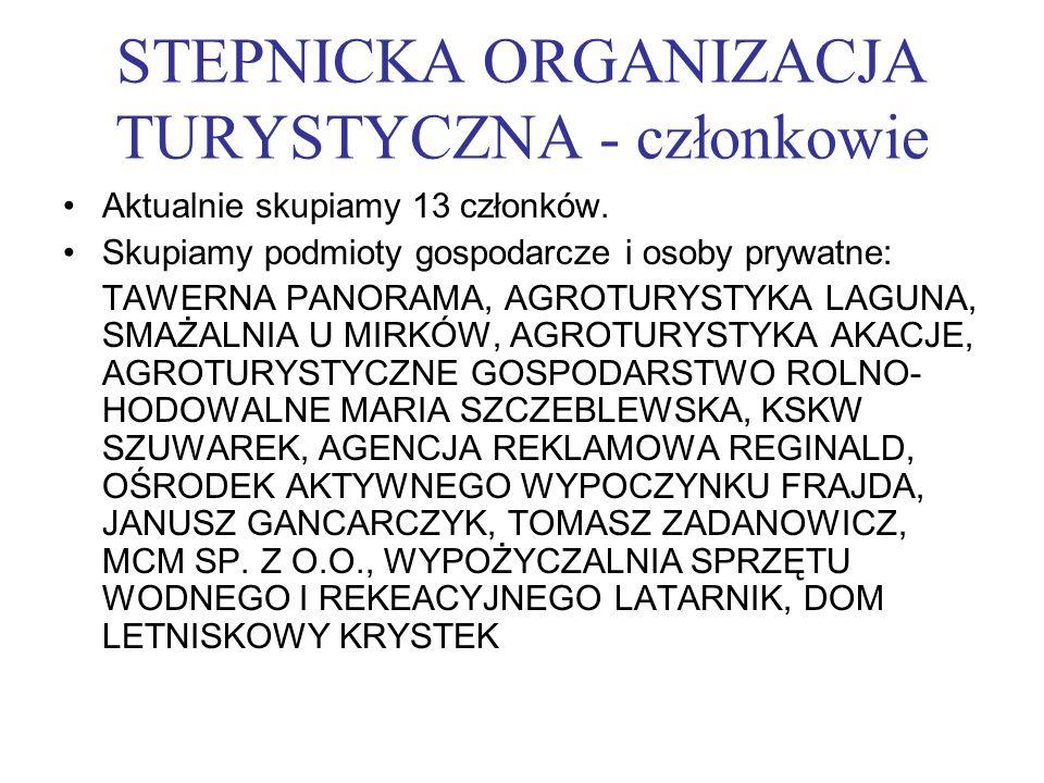 STEPNICKA ORGANIZACJA TURYSTYCZNA - członkowie Aktualnie skupiamy 13 członków. Skupiamy podmioty gospodarcze i osoby prywatne: TAWERNA PANORAMA, AGROT