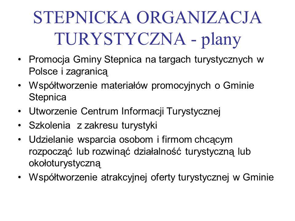 STEPNICKA ORGANIZACJA TURYSTYCZNA - plany Promocja Gminy Stepnica na targach turystycznych w Polsce i zagranicą Współtworzenie materiałów promocyjnych