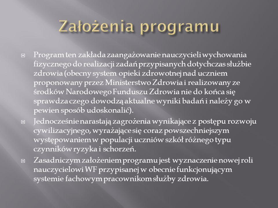 Program ten zakłada zaangażowanie nauczycieli wychowania fizycznego do realizacji zadań przypisanych dotychczas służbie zdrowia (obecny system opieki
