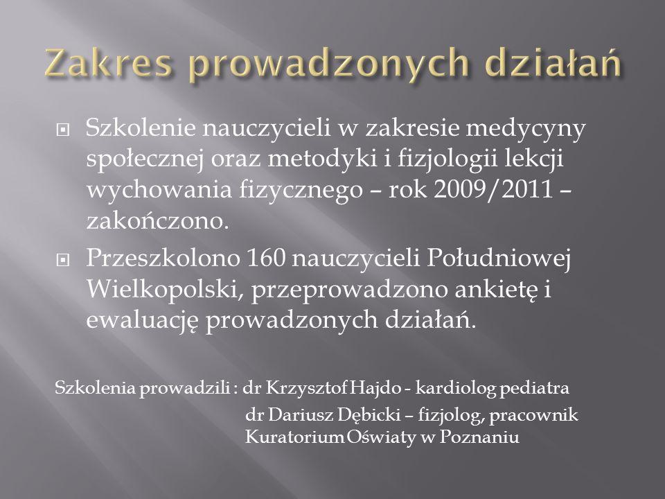 Szkolenie nauczycieli w zakresie medycyny społecznej oraz metodyki i fizjologii lekcji wychowania fizycznego – rok 2009/2011 – zakończono. Przeszkolon