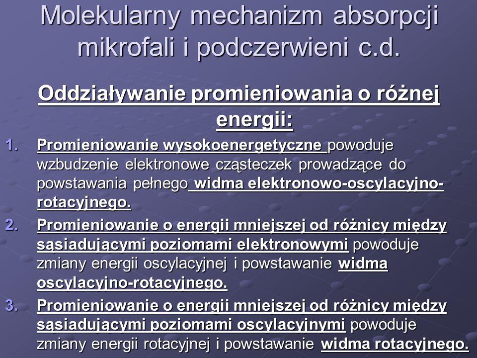 Molekularny mechanizm absorpcji mikrofali i podczerwieni c.d. Oddziaływanie promieniowania o różnej energii: 1.Promieniowanie wysokoenergetyczne powod