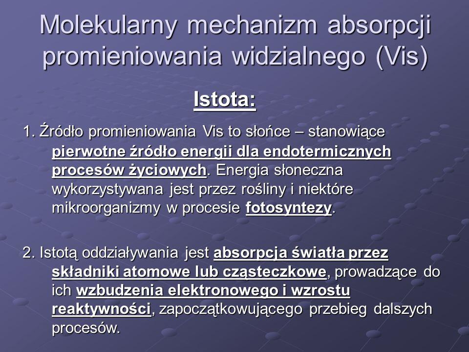 Molekularny mechanizm absorpcji promieniowania widzialnego (Vis) Istota: 1. Źródło promieniowania Vis to słońce – stanowiące pierwotne źródło energii