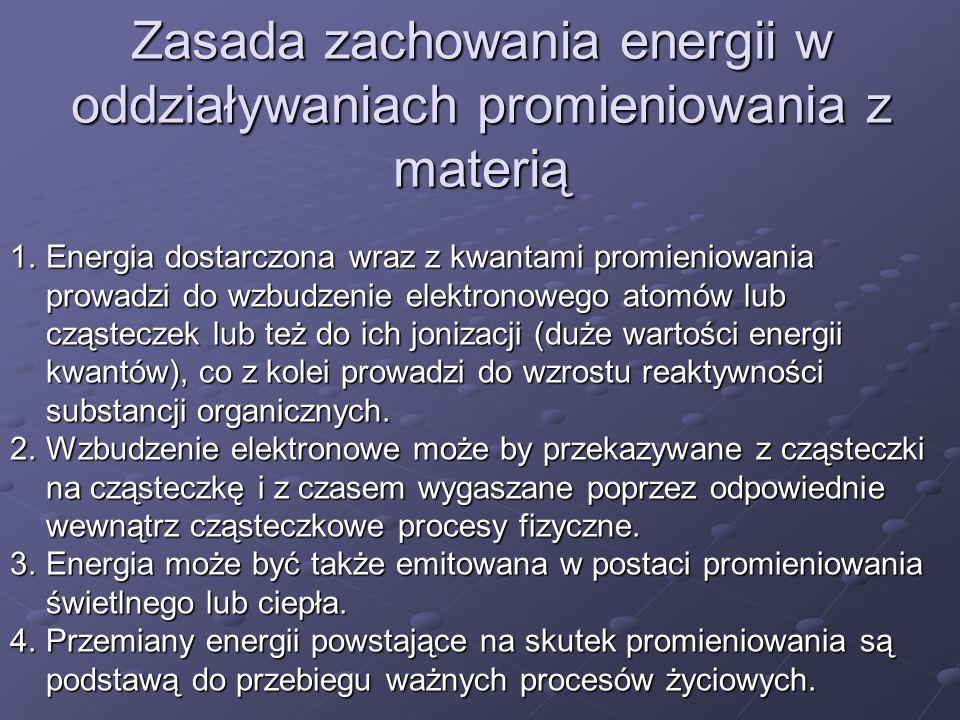 Zasada zachowania energii w oddziaływaniach promieniowania z materią 1.Energia dostarczona wraz z kwantami promieniowania prowadzi do wzbudzenie elekt