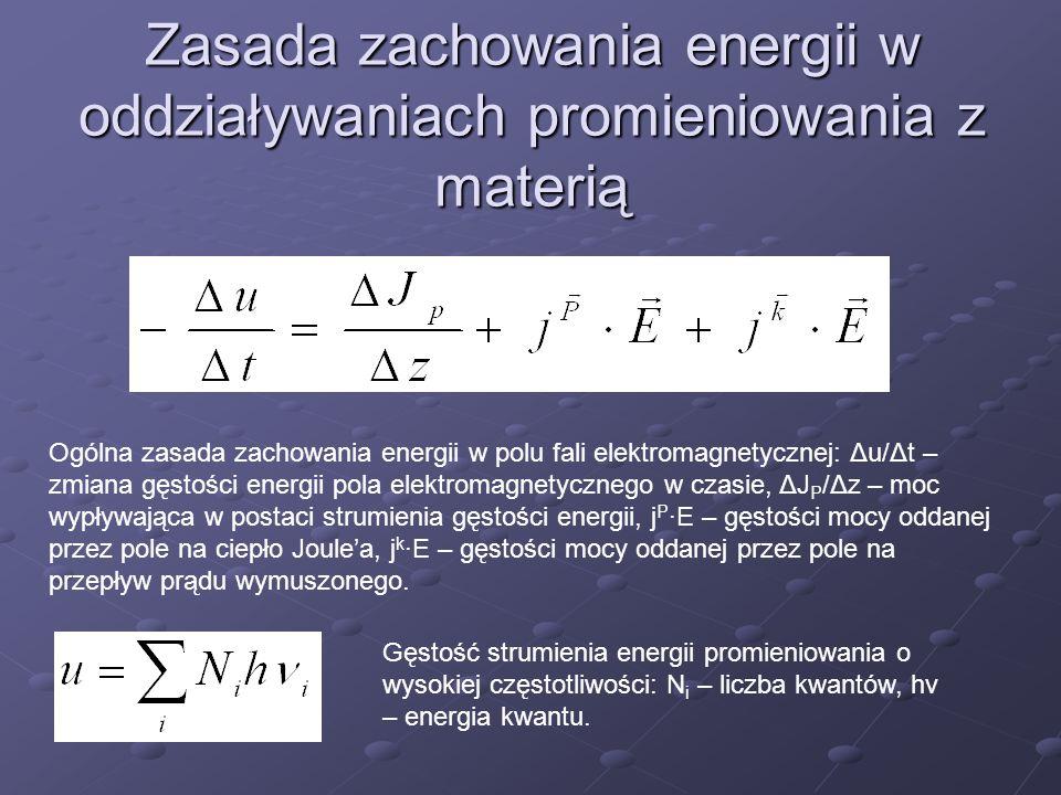 Zasada zachowania energii w oddziaływaniach promieniowania z materią Ogólna zasada zachowania energii w polu fali elektromagnetycznej: Δu/Δt – zmiana