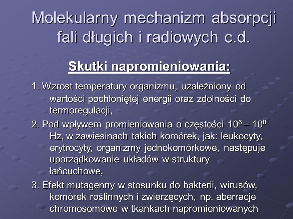 Skutki napromieniowania: 1. Wzrost temperatury organizmu, uzależniony od wartości pochłoniętej energii oraz zdolności do termoregulacji, 2. Pod wpływe