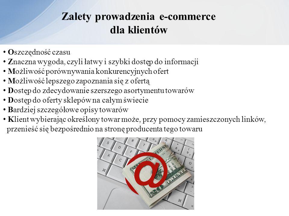 Zalety prowadzenia e-commerce dla klientów Oszczędność czasu Znaczna wygoda, czyli łatwy i szybki dostęp do informacji Możliwość porównywania konkuren