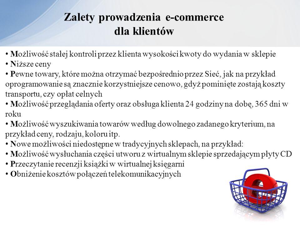 Zalety prowadzenia e-commerce dla klientów Możliwość stałej kontroli przez klienta wysokości kwoty do wydania w sklepie Niższe ceny Pewne towary, któr