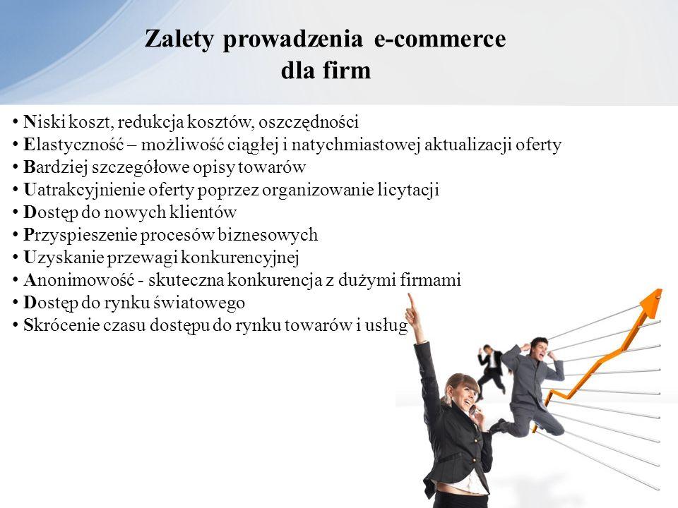 Zalety prowadzenia e-commerce dla firm Niski koszt, redukcja kosztów, oszczędności Elastyczność – możliwość ciągłej i natychmiastowej aktualizacji ofe