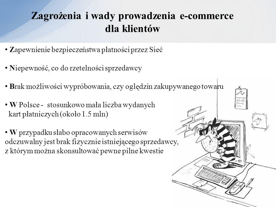 Zagrożenia i wady prowadzenia e-commerce dla klientów Zapewnienie bezpieczeństwa płatności przez Sieć Niepewność, co do rzetelności sprzedawcy Brak mo