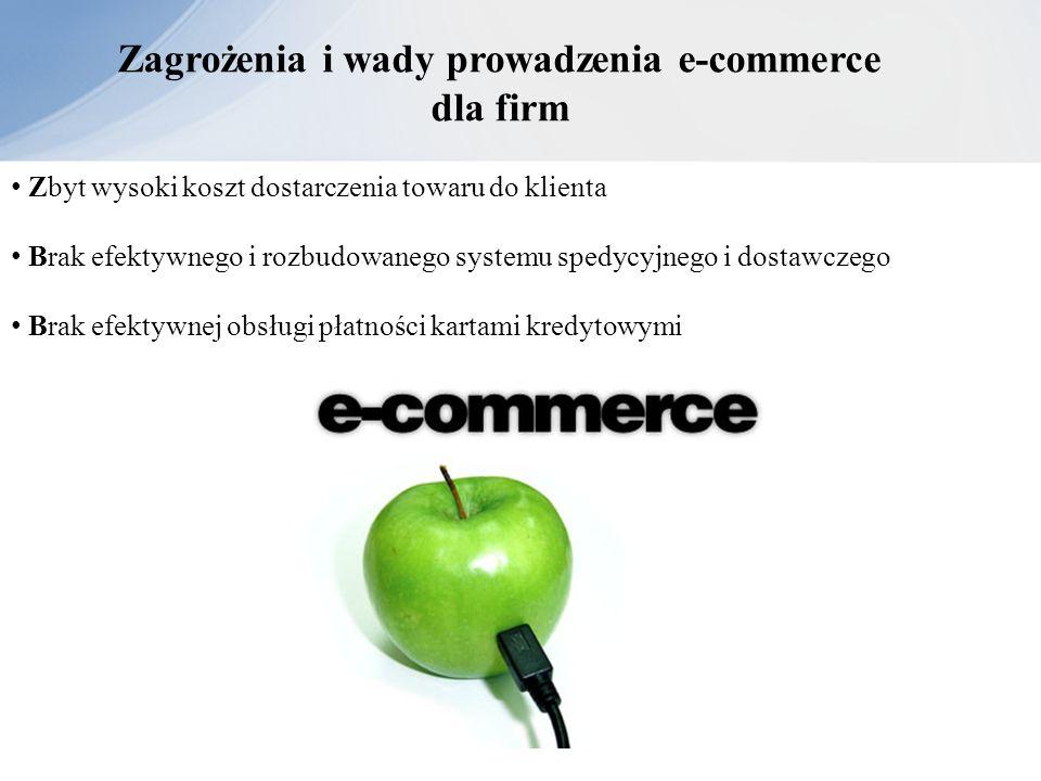 Zagrożenia i wady prowadzenia e-commerce dla firm Zbyt wysoki koszt dostarczenia towaru do klienta Brak efektywnego i rozbudowanego systemu spedycyjne