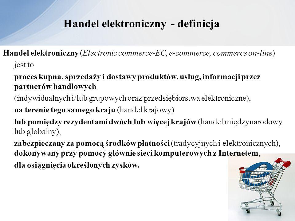 Handel elektroniczny - definicja Handel elektroniczny (Electronic commerce-EC, e-commerce, commerce on-line) jest to proces kupna, sprzedaży i dostawy