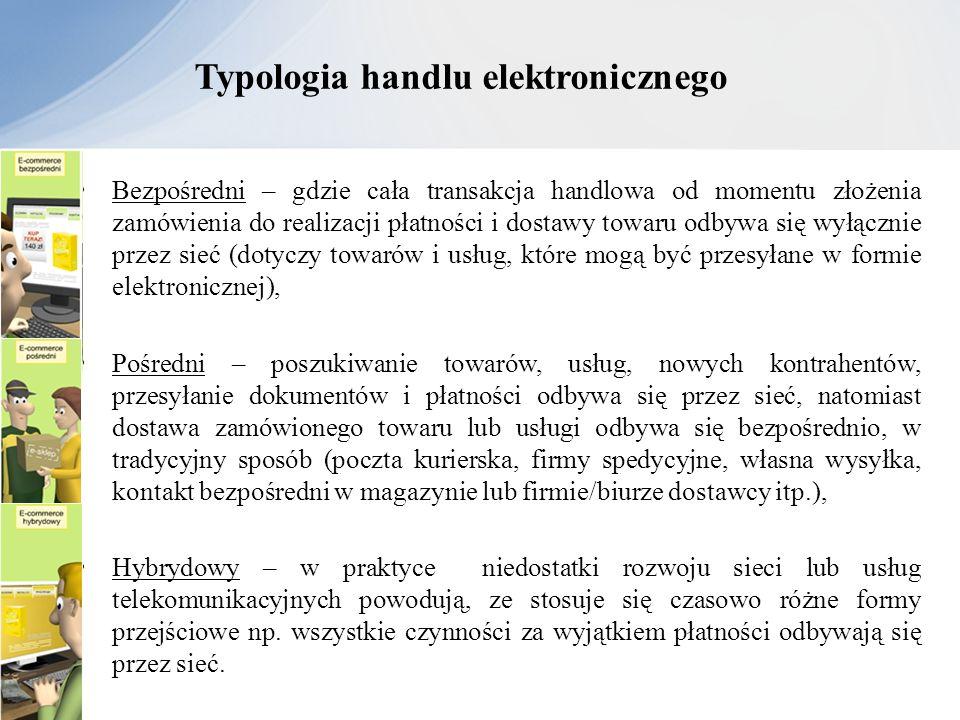 Typologia handlu elektronicznego Bezpośredni – gdzie cała transakcja handlowa od momentu złożenia zamówienia do realizacji płatności i dostawy towaru