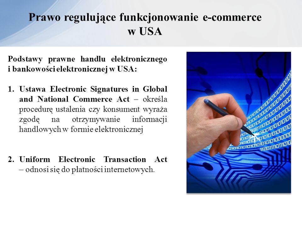 Prawo regulujące funkcjonowanie e-commerce w USA Podstawy prawne handlu elektronicznego i bankowości elektronicznej w USA: 1.Ustawa Electronic Signatu