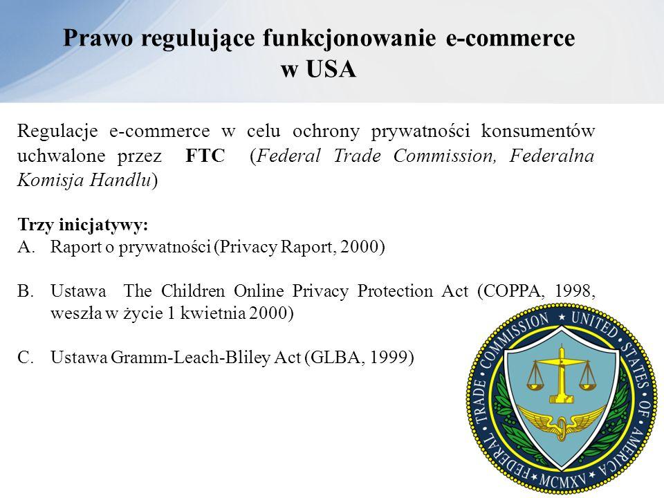 Prawo regulujące funkcjonowanie e-commerce w USA Regulacje e-commerce w celu ochrony prywatności konsumentów uchwalone przez FTC (Federal Trade Commis