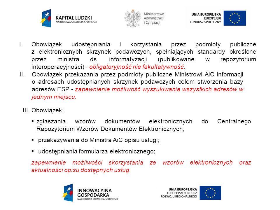 I.Obowiązek udostępniania i korzystania przez podmioty publiczne z elektronicznych skrzynek podawczych, spełniających standardy określone przez minist