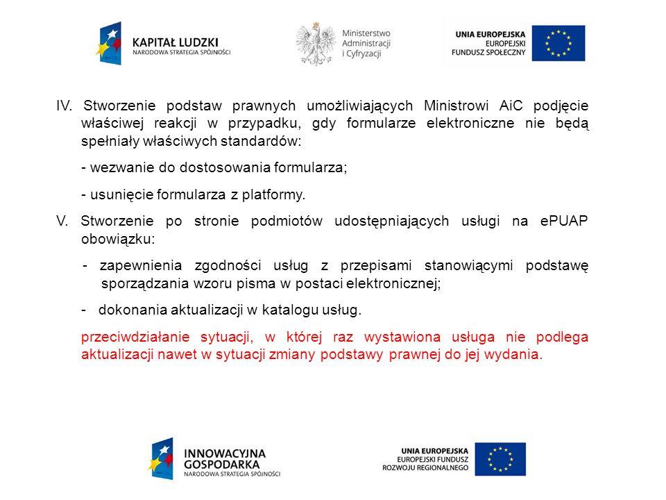 IV. Stworzenie podstaw prawnych umożliwiających Ministrowi AiC podjęcie właściwej reakcji w przypadku, gdy formularze elektroniczne nie będą spełniały