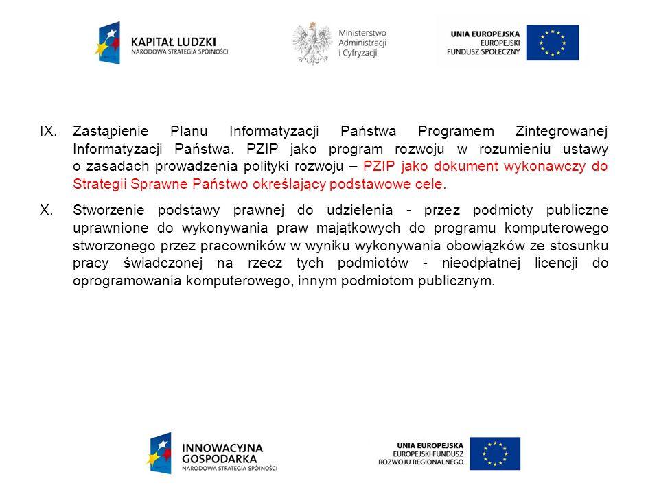 IX.Zastąpienie Planu Informatyzacji Państwa Programem Zintegrowanej Informatyzacji Państwa. PZIP jako program rozwoju w rozumieniu ustawy o zasadach p