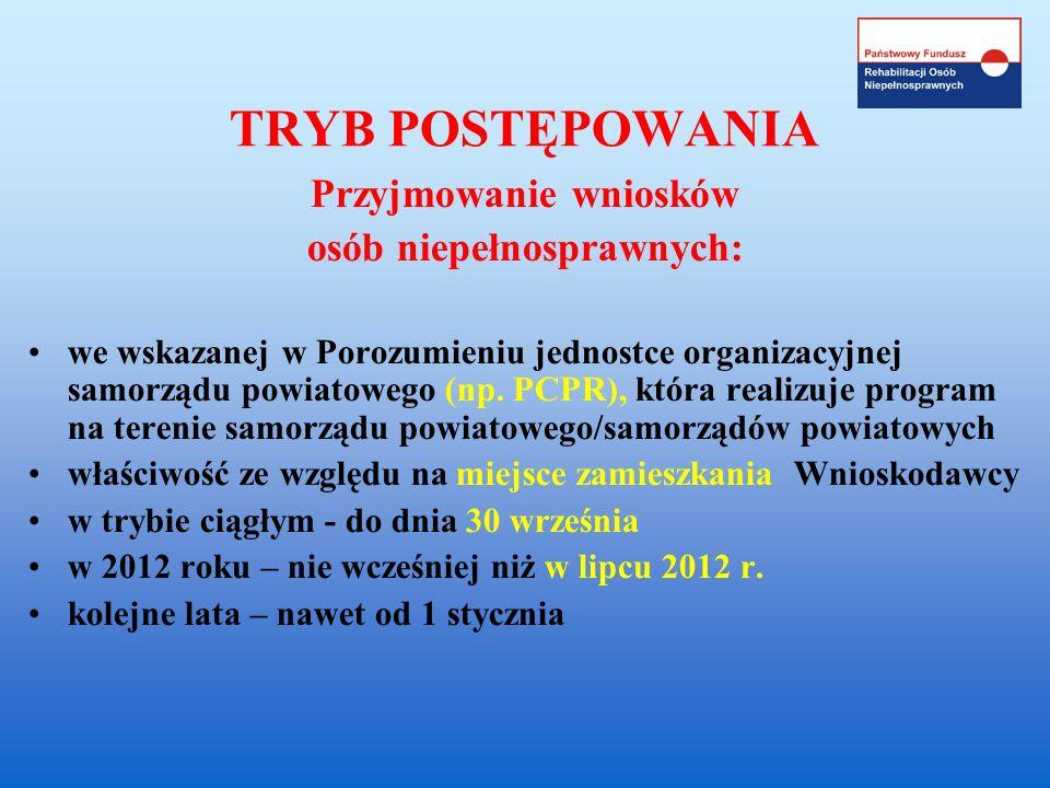 TRYB POSTĘPOWANIA Przyjmowanie wniosków osób niepełnosprawnych: we wskazanej w Porozumieniu jednostce organizacyjnej samorządu powiatowego (np. PCPR),