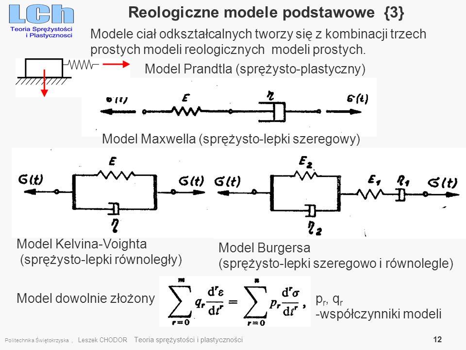 Politechnika Świętokrzyska, Leszek CHODOR Teoria sprężystości i plastyczności 12 Reologiczne modele podstawowe {3} Model Maxwella (sprężysto-lepki sze