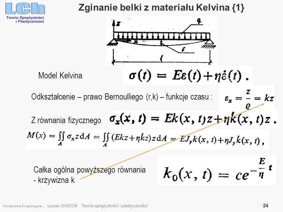 Politechnika Świętokrzyska, Leszek CHODOR Teoria sprężystości i plastyczności 24 Zginanie belki z materiału Kelvina {1}. Model Kelvina Odkształcenie –