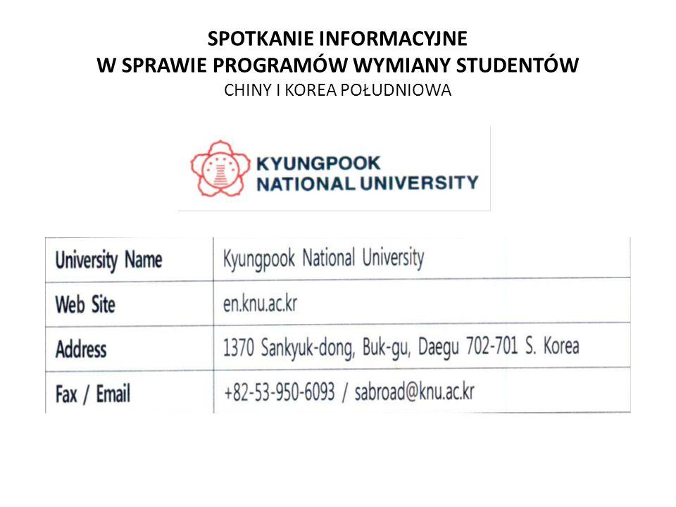 SPOTKANIE INFORMACYJNE W SPRAWIE PROGRAMÓW WYMIANY STUDENTÓW CHINY I KOREA POŁUDNIOWA